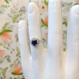 Blue Crystal Halo Ring - Size 6.5